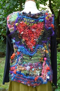 Vest in freeform crochet created with only handspun art от leconte