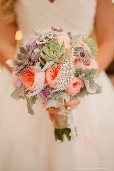 Peony, succulent, & brooche bouquet (Flowers by Lee Forrest Design, photo by: Liga Photography)