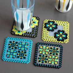 4 Glass Coasters handmade thousands of ironed beads door Leminussieu