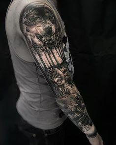 Wolf tattoos, new tattoos, animal tattoos, body art tattoos, future tat Animal Sleeve Tattoo, Nature Tattoo Sleeve, Full Sleeve Tattoo Design, Full Sleeve Tattoos, Sleeve Tattoos For Women, Tattoos For Guys, Animal Tattoos, Future Tattoos, Sleeve Tattoo Men