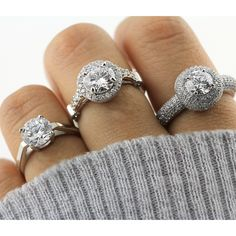 Solitaire, halo or double halos? Go as elegant or glamorous as you like.  Shop engagement rings >> http://www.berricle.com/wedding-jewelry/bridal-wedding-engagement-rings.htm?utm_medium=organic&utm_campaign=3_rings&utm_source=pinterest