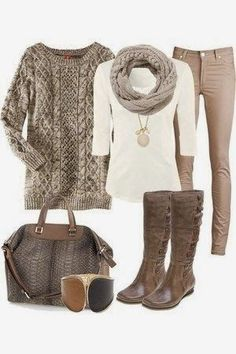 Beige and brown color scheme for us brown eyed, brown hair gals!
