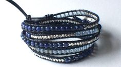 Handmade Blue Silver Beaded Wrap Bracelet by SaraWardDesigns, $56.00