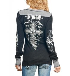 Amazon.com: Affliction Women Reversible Thermal Shirt Long Slvs Vneck Wing Cross in Grey Black: Clothing