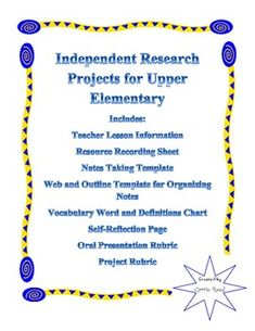 Generic Independent Research Project for Upper Elementary