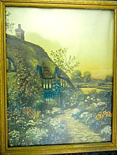 Ann Hathaway's Cottage print is clean with no water marks back paper shows wear due to age Frame is in good condition. Antique Art, Vintage Art, Vintage Antiques, Country Cottages, Country Of Origin, Ann, Framed Prints, Water, Painting
