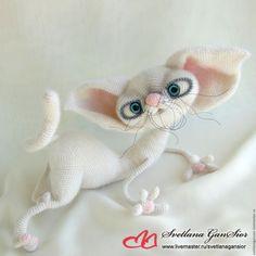 Купить Кошка Ябеда (резерв) - белый, кошка, кот, котенок, кошечка, игрушка ручной работы