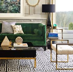 Some of my favorite things: emerald green upholstery, Greek key pattern, and gold and black accents.