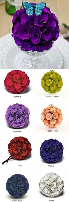 Floral Pomander Ball Made with Wood Curls (8 Colors)
