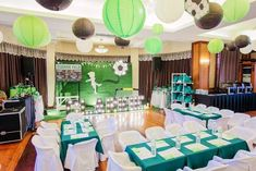 Clarkie's Soccer Themed Party – Stage Kids Party Themes, Theme Ideas, Sunday Photos, Football Themes, Backdrops For Parties, Soccer, Goals, Table Decorations, Event Ideas