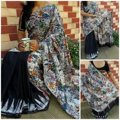 Handblock printed Chanderi silk sarees with blouse piece Chanderi Silk Saree, Cotton Saree, Silk Sarees, Saris, Blouse Styles, Blouse Designs, Casual Saree, Indian Sarees, Kimono Top