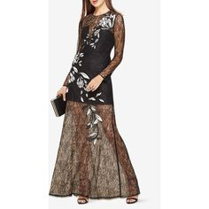 BCBGMAXAZRIA Veira Floral Applique Lace Gown ($598) ❤ liked on Polyvore featuring dresses, gowns, black, floral cocktail dresses, floral gown, floral evening gown, sheer evening gown and evening dresses