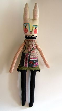 Magaly Ohika - Piper the Rabbit - mix media scraps of lovely decor fabric, muslin and Painted in SoSoft Fabric paints