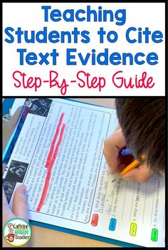 Teaching students to cite text evidence is easy with this step-by-step guide for busy teachers. Teach your class to refer to the reading as they answer reading comprehension questions. Great for grade, grade, grade, and grade students. Teacher Teaching Students, Teacher Education, Teaching Writing, Teaching Strategies, Busy Teachers, Kids Education, Elementary Education, Education Quotes, Physical Education