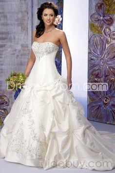 Graceful A-Line/Princess Strapless Floor-length Chapel Pleats Taffeta Bridal Gowns