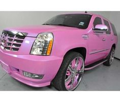 Escalade With Pink Wheels - Girly Cars for Female Drivers! Love Pink Cars ? It's the dream car for every girl ALL THINGS | http://awesomesportcarscollections791.blogspot.com