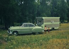 Two-tone 1951 Chevy with matching trailer.