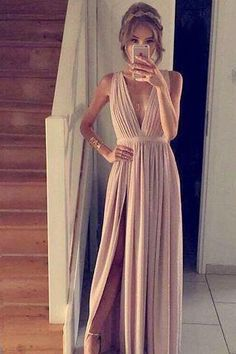 Deep V Casual Dress,Split Prom Dress,Maxi Prom Dress,Fashion Prom Dress,Sexy Party Dress, 2017 New Evening Dress