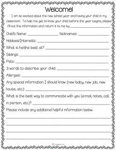 Establish positive home-school relationship with parents by handing out this information sheet at Meet the Teacher Night.  Give parents an opportunity to tell you a little more about their child.  #free #printable