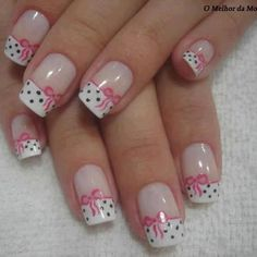 In Moda For Me: Uñas decoradas ,uñas francesas siempre a la moda Fabulous Nails, Gorgeous Nails, Love Nails, Pink Nails, Pretty Nails, My Nails, White Nails, Cancer Nails, Nagel Hacks