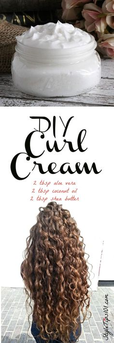 An all natural DIY curl cream that uses pure aloe vera gel, coconut oil, and shea butter to give you the healthiest, bounciest curls you've ever had! If you have curly or wavy hair, this DIY curl cream recipe will be right up your alley! Instead of satura Curly Hair Tips, Curly Hair Styles, Natural Hair Styles, Natural Beauty, Hair Mask Curly Hair, Tousled Hair, Diy Hair Mask, Natural Curly Hair, Kinky Hair