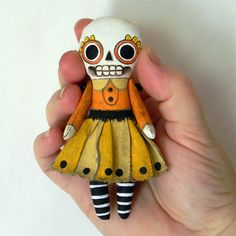 LURVE!    Halloween Skeleton Day of the Dead Ornament Doll-- Original Contemporary Folk Art--via Etsy.