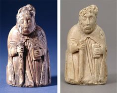 Left: Chess Piece of a Bishop, 1126–1175. Scandinavian or English. Walrus ivory. The British Museum, London (1856,0623.137) © The Trustees of the British Museum. All rights reserved. Right: Plaster copy, late 19th century. The Metropolitan Museum of Art, New York, 1881 (W-813)
