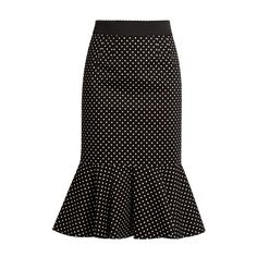 Dolce & Gabbana Polka-dot print stretch-cotton midi skirt ($895) ❤ liked on Polyvore featuring skirts, black white, cotton stretch skirt, calf length skirts, black and white skirts, polka dot skirts and black and white midi skirt