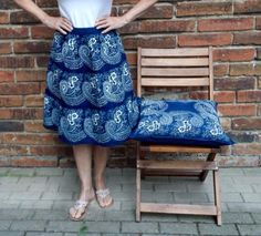 An Indigo handprinted folkloric skirt from Dilians Folklore, Lace Skirt, Indigo, My Style, Floral, Modern, Skirts, Design, Fashion
