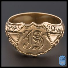 """Substantial 14k Gold Antique Men's Signet Ring With Initials """"JS"""" - Size 12"""