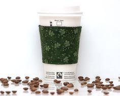 New to Chockrosa on Etsy: Fabric Coffee Cozy | Green leaf | Cozies Koosie Kozy | Stocking stuffer | Drink Sleeve | Black lining | Womens Mens gift