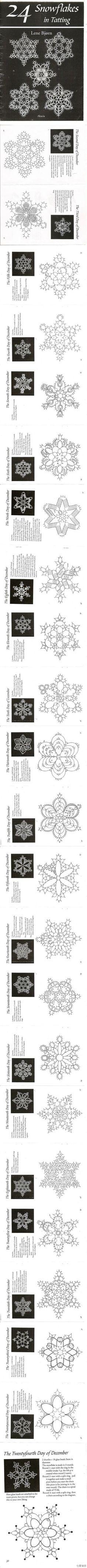 #24 snowflakes in tatting# 24种梭编雪花。(只发图的感觉好清爽=。= - 堆糖 发现生活_收集美好_分享图片