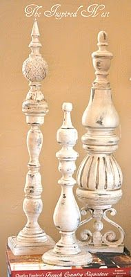 use candle holders and finials - paint technique. DIY: Pottery Barn Finial Tutorial - made using unused candle holders and wooden finials. She also gives info on the distressed paint finish. Diy Projects To Try, Crafts To Do, Wood Projects, Home Crafts, Diy Crafts, Do It Yourself Design, Do It Yourself Inspiration, Do It Yourself Home, Do It Yourself Furniture