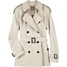 Short cotton trench coat ($490) ❤ liked on Polyvore featuring outerwear, coats, jackets, coats & jackets, burberry, pleated coat, double breasted coat, short double breasted coat and pink trench coat