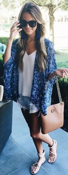 #summer #lovely #fashion   Floral Blue Kimono + Tee + Cut Offs