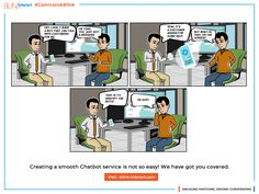 Creating a smooth Chatbot service is not so easy! Contact BlinkInteract for intelligent yet humanized bot Augmented Virtual Reality, Smooth, Comics, Business, Cover, Easy, Store, Cartoons, Business Illustration