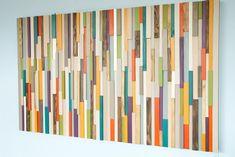 Holz-Wand-Kunst, ist Wandskulptur aus recyceltem Holz Stück. Jedes Holzstück ist von Hand geschliffen, gefärbt oder bemalt, diese moderne abstrakte Blick Stück. Skulptur ist glatt zu berühren und Mattlack wird gegeben, um diese perfekte Schutz, um es hinzuzufügen. Aufgrund ihrer