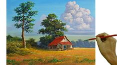 House Landscape, Landscape Art, Landscape Paintings, Acrylic Portrait Painting, Acrylic Painting Techniques, Canvas Painting Tutorials, Diy Painting, House In Nature, Nature Paintings