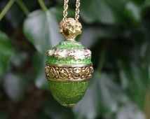 Joan Rivers - Faberge Style Egg pendant and chain - Enamel - Highly decorative - c 1980s