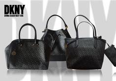fa6e0bad28 Γυναικείες τσάντες DKNY από μαύρο μονογραμμένο PVC σε 3 σχέδια!