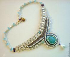 """Купить Колье """"Голубая лагуна"""" - голубой, украшения ручной работы, украшение на…"""