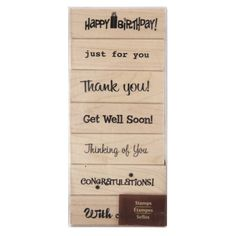 <div>This wood-mounted stamp set is a great addition to any paper crafter or scrapbooker's colle...