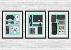 Affiche du jeu vidéo, jeu vidéo imprimer, Nintendo affiche, affiche rétro, art rupestre Man, geekery imprimer, contrôleur de jeu, jeu de décoration, lot de 3