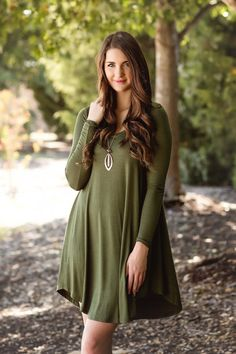 Fall Fashion, Fall Dress, Jersey Long Sleeve Dress, Olive Dress, OOTD- Your Go-To Dress-Olive by Jane Divine Boutique www.janedivine.com