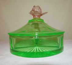 watermelon glass images | Cambridge Glass Pink & Green Watermelon 3-Part Candy Dish Box w/ Rose ...