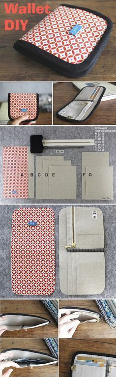 Step-by-Step DIY Tutorial with Photos…Simple Wallet Sewing Pattern. Step-by-Step DIY Tutorial with Photos… Sewing Basics, Sewing Hacks, Sewing Tutorials, Sewing Projects, Sewing Ideas, Diy Projects, Sew Wallet, Billfold Wallet, Fabric Wallet