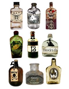 INSPIRATION - Halloween Potion Bottles (No specified source) #halloween #decor #label