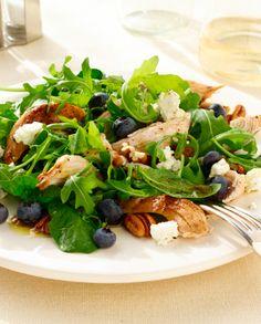 Grilled Chicken Salad with Fresh Blueberries, Pecans Feta, and Honey-Poppy Vinaigrette