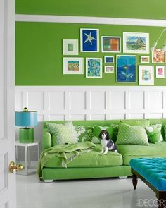 Benjamin Moore Bright Lime paint color for a fun tv room! Artwork wall, wainscoting