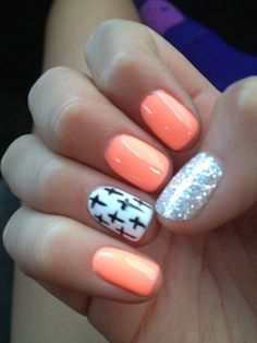 Peach Nails with Crosses/Glitter